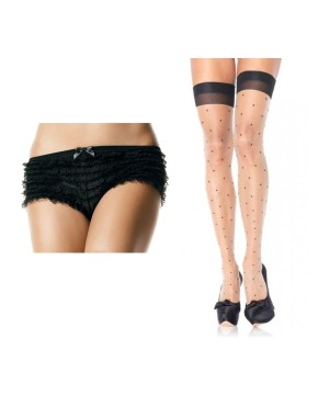 Valentines Day Lace Bloomers and Thigh High Stockings Set