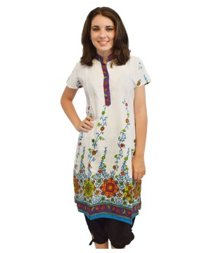 White Printed Women Kurti in Pure Cotton