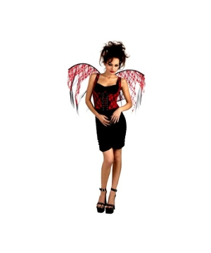 Red Lace Corset With Wings - Adult Costume Accessory