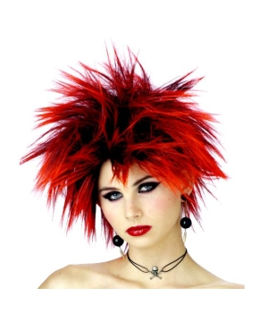 Red Punker Chick Adult Wig