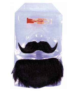 Black Adult Mustache Goatee Set