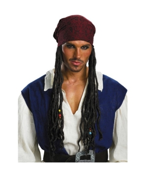Jack Sparrow Headband With Hair Adult Accessory