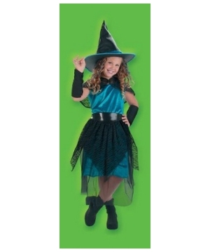 Witch Turquoise Midnight Kids Costume
