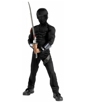 Gi Joe Snake Eyes Muscle Boys Costume