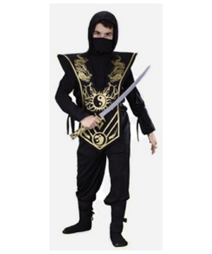 Ninja Complete Boys Costume Black/gold