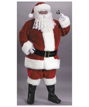 Mens plus size Regency Plush Red Santa Suit