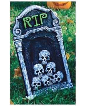 Tombstone Rip With Skulls - Halloween Decoration