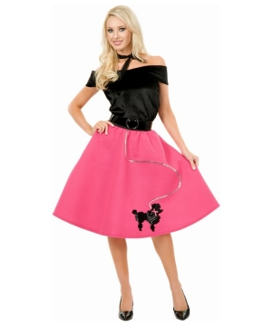 Poodle Skirt Black/hot Pink Adult plus size Costume