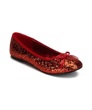 Red Glitter Flats Adult Shoes