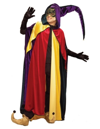 Mardi Gras Regal Jester Hooded Cape
