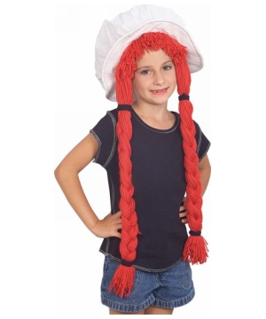 Rag Doll Girls Hat With Hair