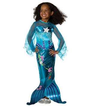 blue magical mermaid girl costume