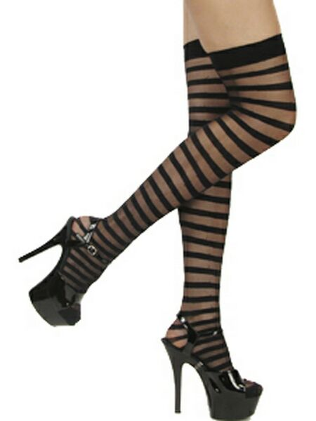 Tights Black Stripe Thigh