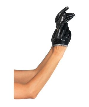 Faux Leather Studded Cropped Gloves
