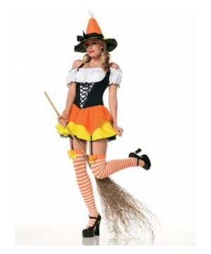 Candy Corn Sexy Witch Adult Costume
