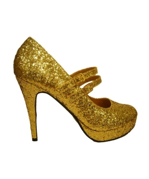 Gold Glitter Jane Shoes - Adult Shoes