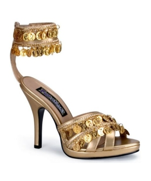 Gold Gypsy Coin High Heel Shoes