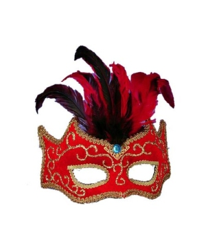 Red Half Style Mask - Venetian Mask