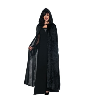 Hooded Cloak Black - Adult Costume Accessory