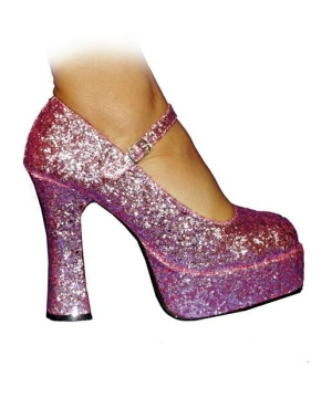 Mary Jane Platform Pink Glitter Shoes - Adult Shoes