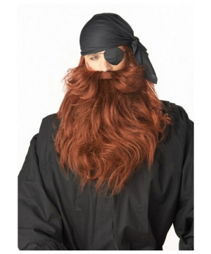 Red Pirate Adult Beard and Mustache