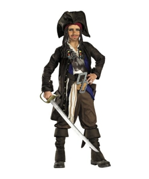 Pirates of Caribbean Captain Jack Sparrow Teen Boys Costume Prestige