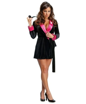 Secret Wishes Black and Pink Hef Robe Costume - Adult Costume