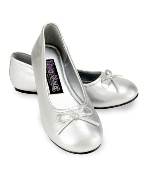 Silver Ballet Flats - Kids Shoes