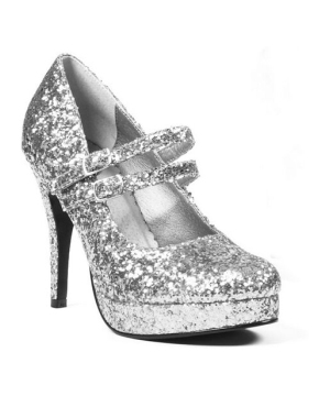 Silver Glitter Jane Shoes - Adult Shoes