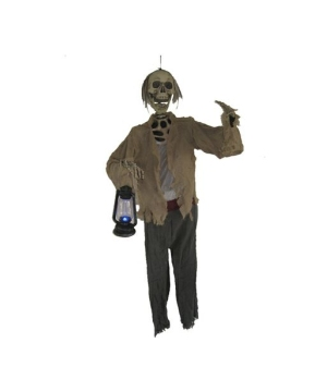 Skeleton With Light up Lantern Prop Halloween Decoration