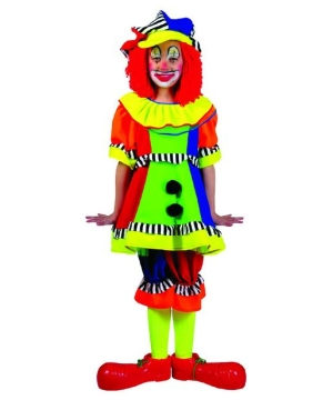 Spanky Stripes Female Clown Kids Costume