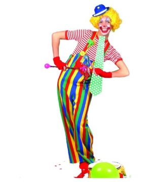 Striped Clown Overalls Costume - Adult Costume