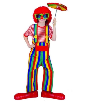 Striped Clown Overalls Boy Costume