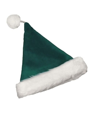 Velvet Green Adult Santa Hat