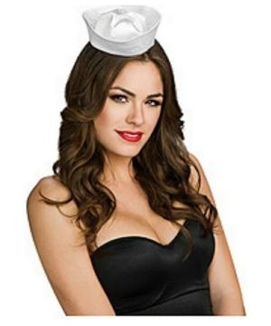 White Satin Mini Sailor Hat