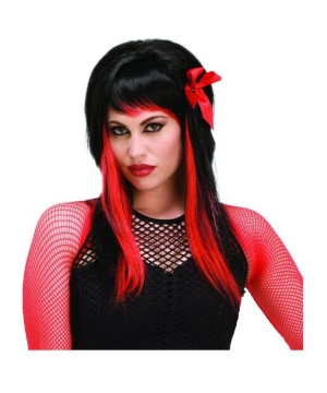 Black and Red Adult Wig