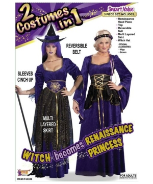 Reversible Witch To Renaissance Princess Adult Costume