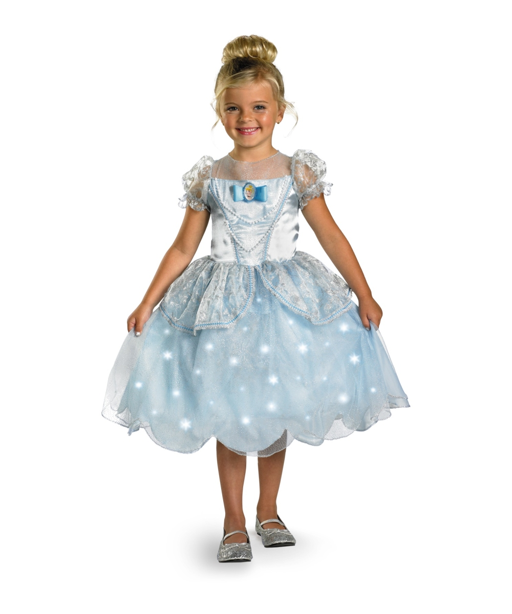 Kids Cinderella Light Up Disney Girl Costume Deluxe