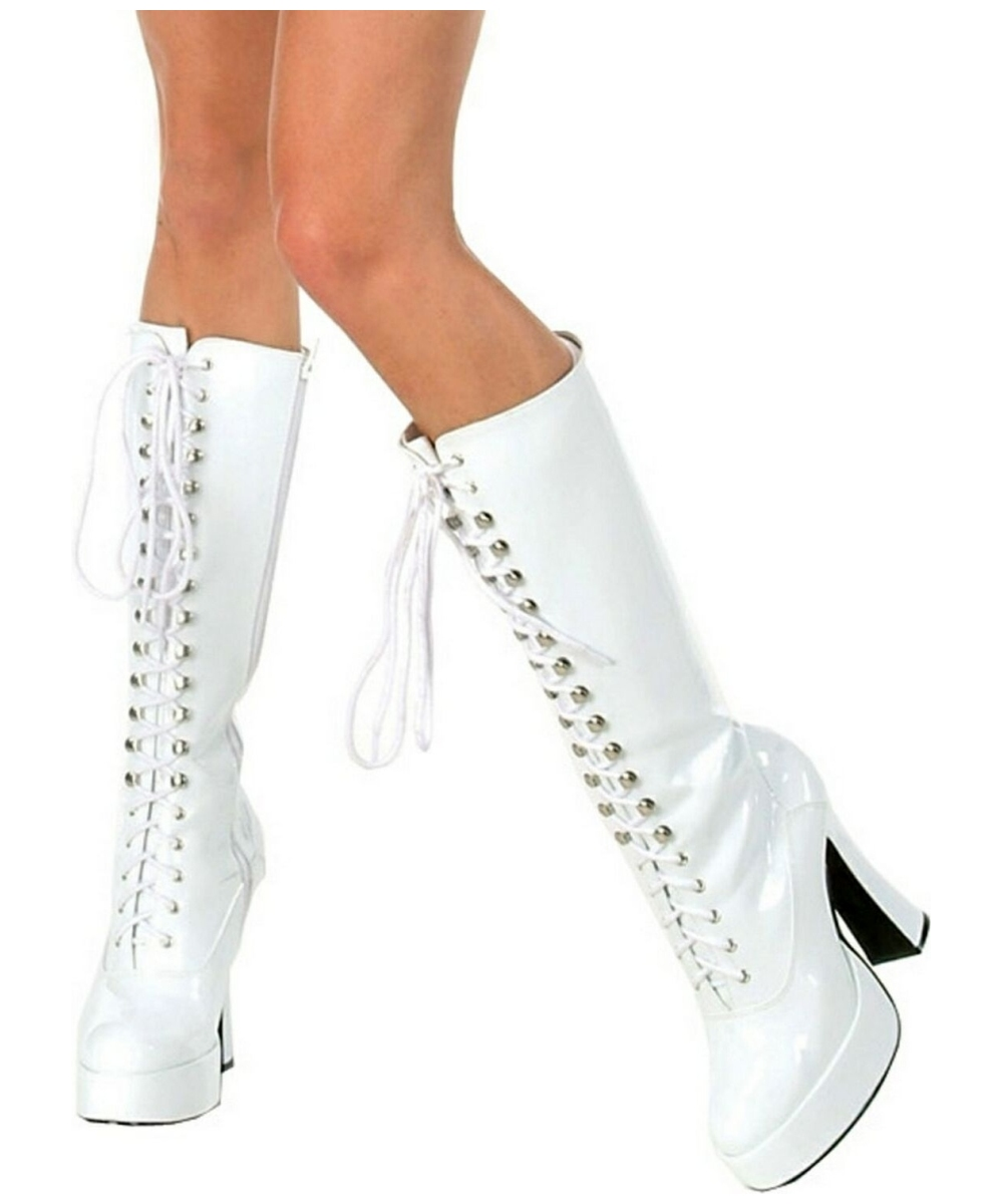 White Lace Up Dance Shoes