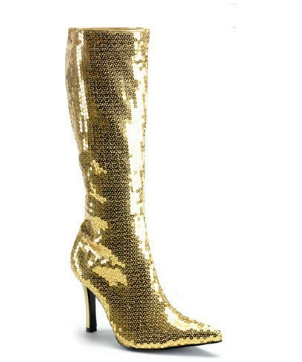 gold sequin boots costume shoes