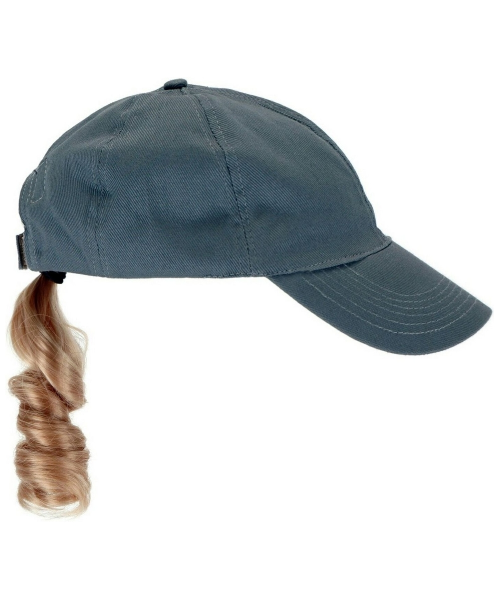 gray baseball cap with blond ponytail hat at
