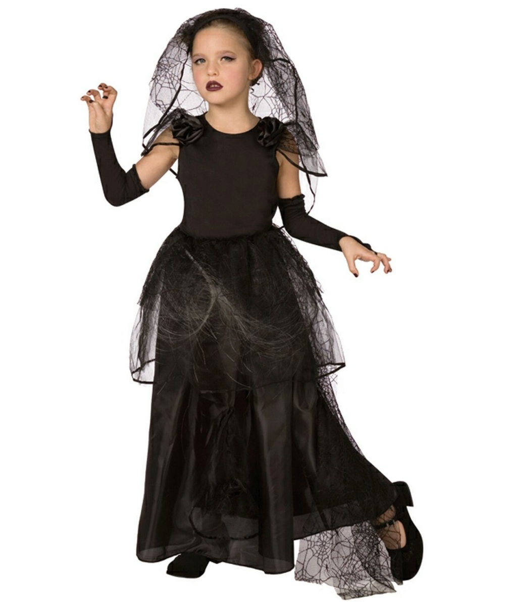 Kids Light Up Dark Bride Costume