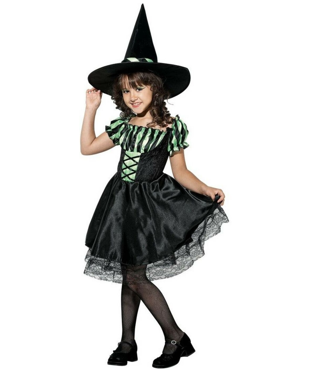 lime striped witch kids halloween costume girls witch costumes - Witch Halloween Costumes For Girls