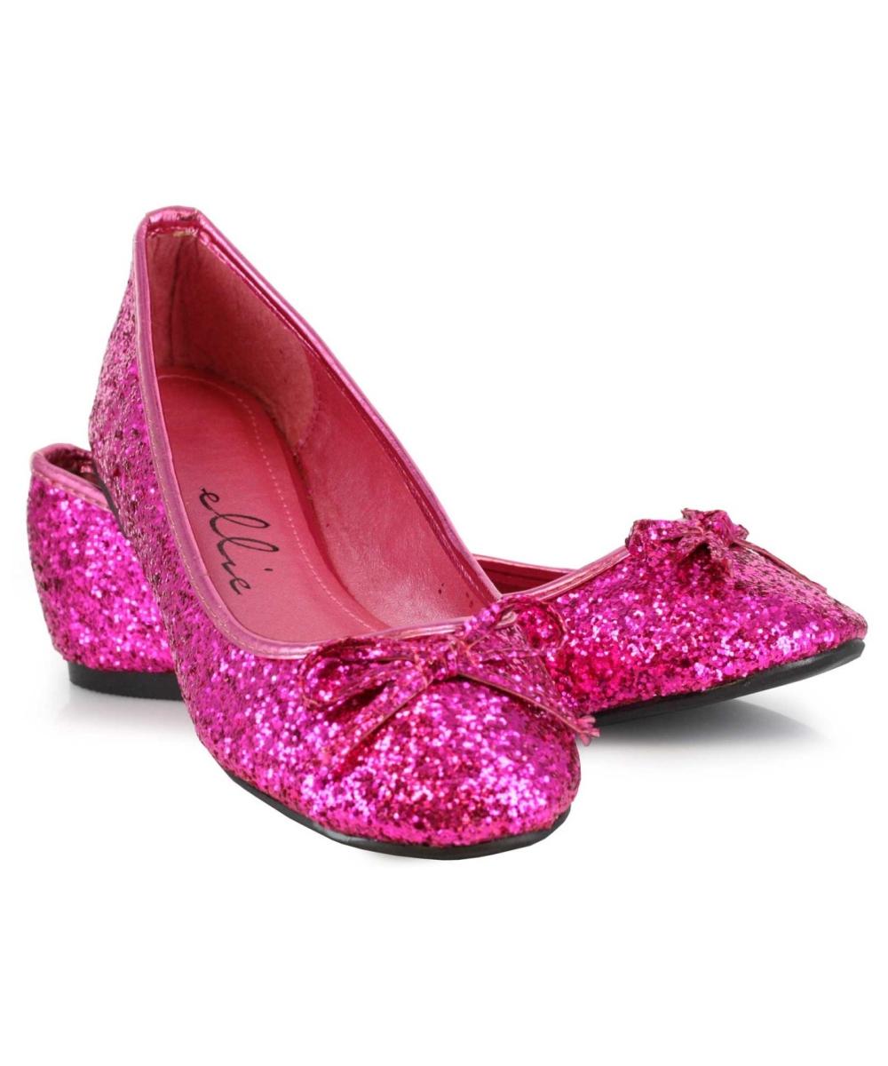 pink fuschia glitter flats costume shoes