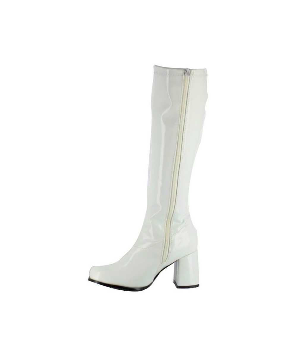 Original White 1960s Go Go Ladies Retro Boots For Women Knee High Boots 60s 70s