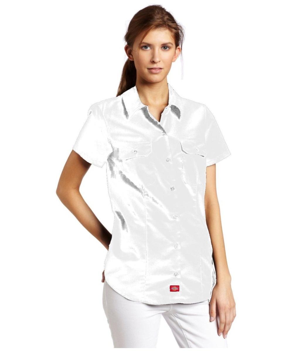 dickie 39 s juniors short sleeve work shirt 2 front pockets white