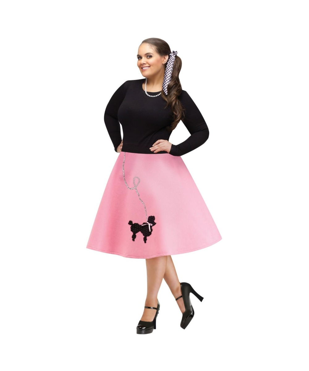 1950s womens plus size pink poodle skirt dancewear costumes