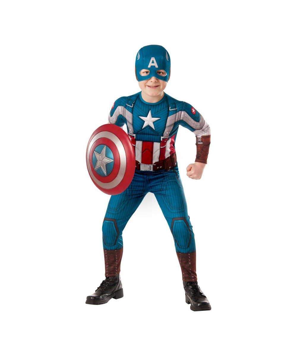 Here's a better idea, show him this Boy's Captain America Deluxe Costume and watch his eyes pop in delight and how awesome this outfit is. He'll know right on the spot which character is not only the best Avenger, but also the best Superhero in general.