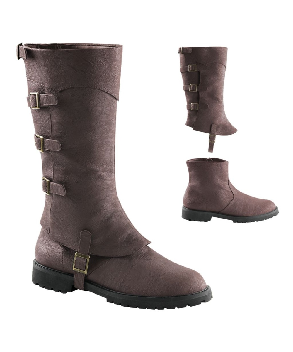 mens brown buckled strapped knee high boots