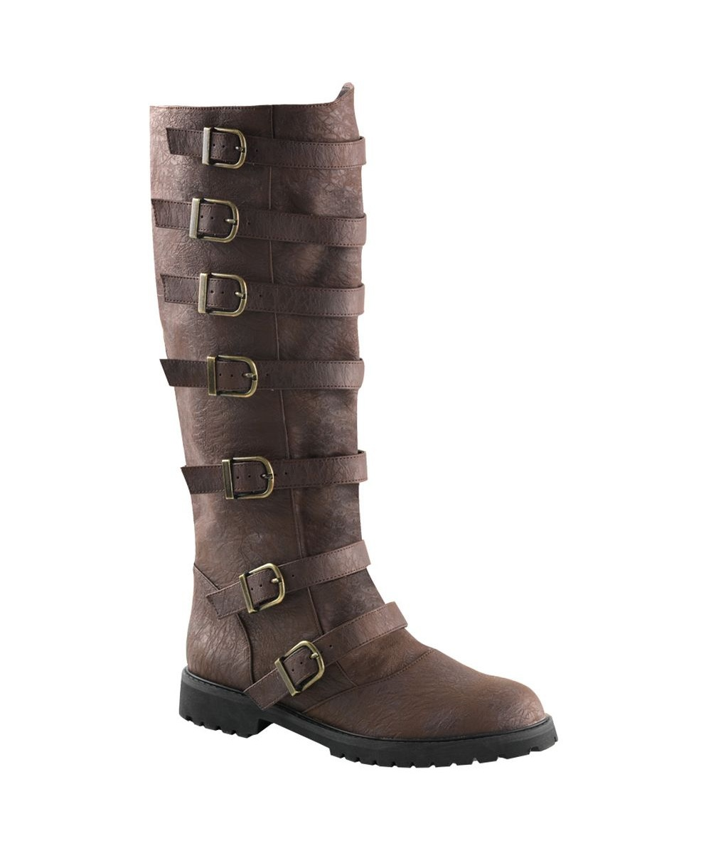 mens multi buckle brown knee high boots